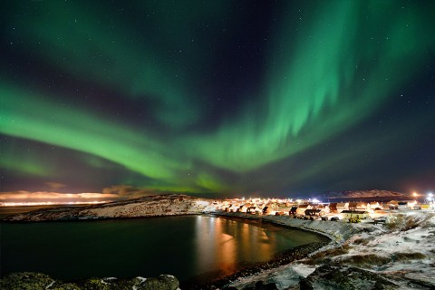 Northern lights over Bugøynes in Finnmark, Norway